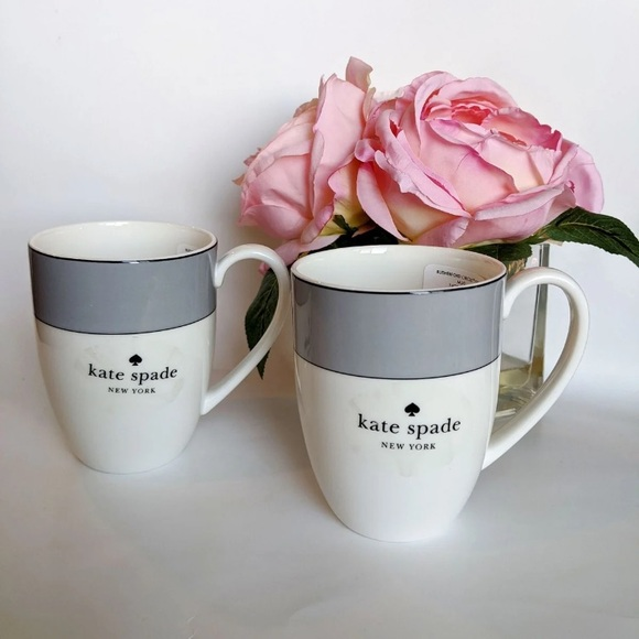 Kate Spade Rutherford Gray Mugs set of 2